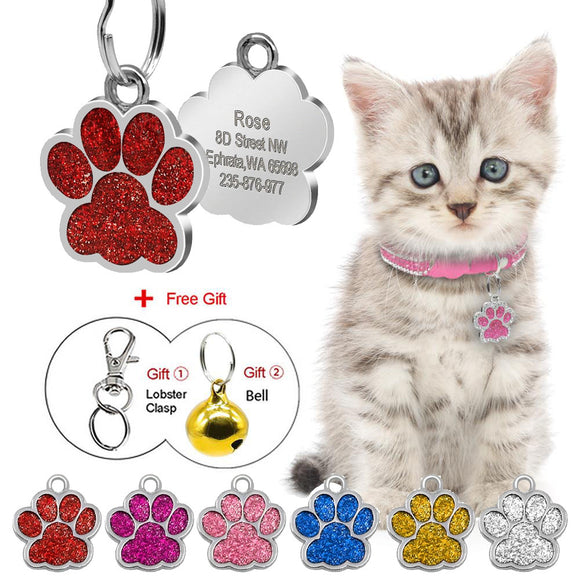 Paw Shape Personalized Dog Cat ID Tags Free Engraved Nameplate