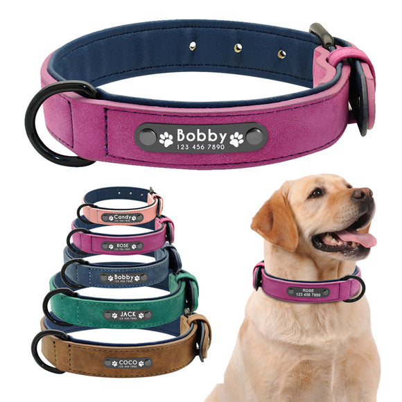 Personalized Genuine Leather Dog Collars Inner Padded with Engraving Nameplate