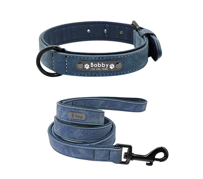 e1702e48874a ... Personalized Genuine Leather Dog Collars Inner Padded with Engraving  Nameplate ...