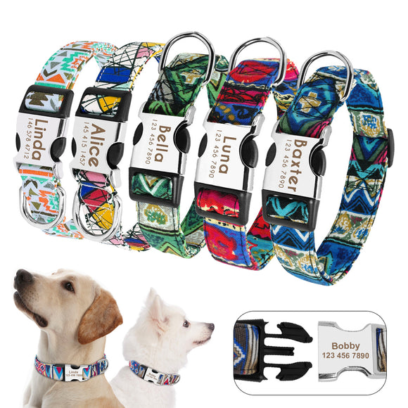 Personalized Nylon Color Print Tag Collar Engrave Nameplate ID for Dog Cat Puppy