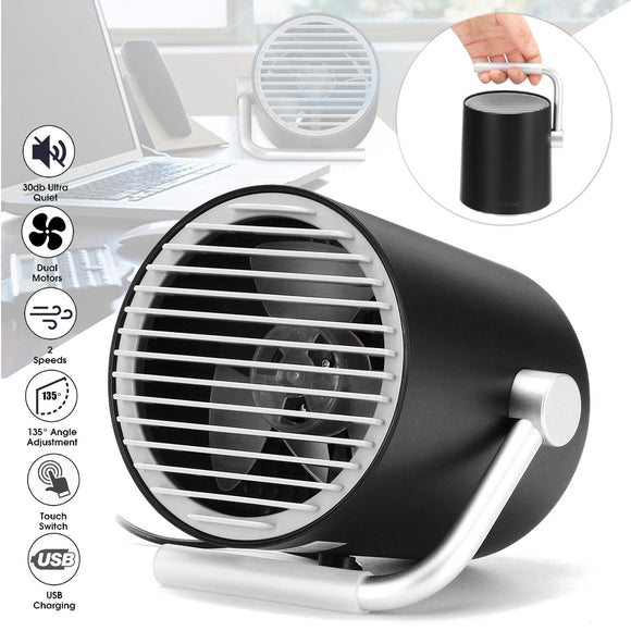 Quiet USB Small Fan with Touch Control Dual Turbo Blades