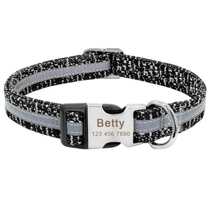 Reflective Personalized Nylon Dog Collar with Engrave Nameplate ID