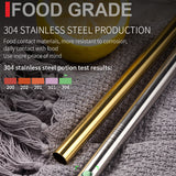 Reusable 304 Stainless Steel Bent Straight Drinking Straws