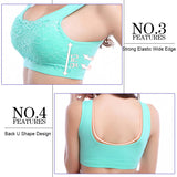 3Packs Women's Seamless Lace Bra Top with Front Lace Cover Sports Bra