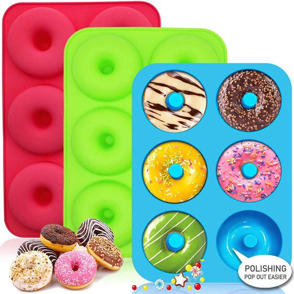 2Pcs Silicone Doughnut Cake Donut Muffin Mold Ice Mould Baking Pan Tray