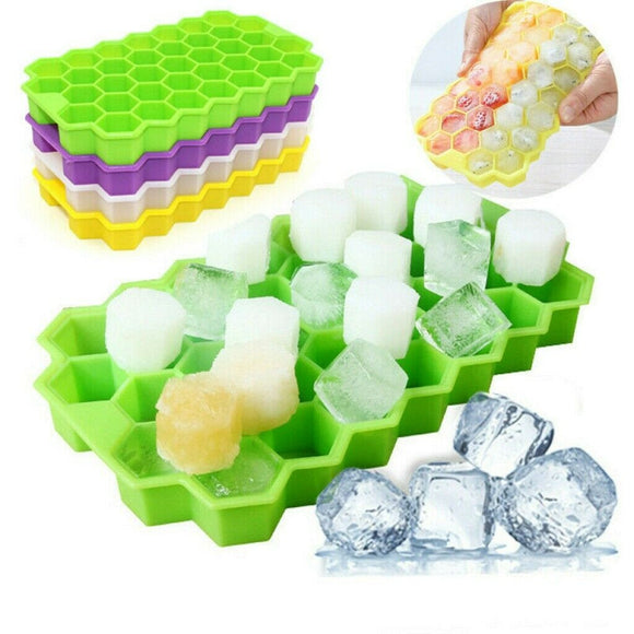 Silicone 37 Ice Cube Tray Mould Plastic with Lid Home Freezer Maker Kitchen Tool
