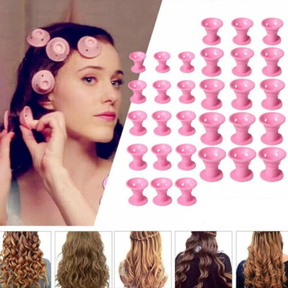 Soft Rubber Magic Hair Care Rollers No Heat No Clip Hair Curl Styling DIY Tool
