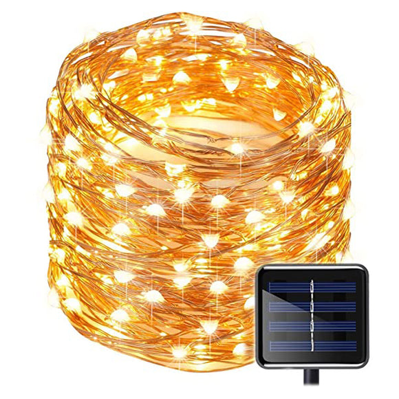 100 LED Solar String Lights Copper Wire Warm White Light Christmas Decor
