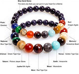 2 Packs Solar System Galaxy Star Planet Chakra Couple Bracelet