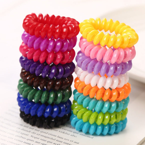 20pcs Spiral Hair Ties Candy Color 5cm Phone Cord Hair Bands