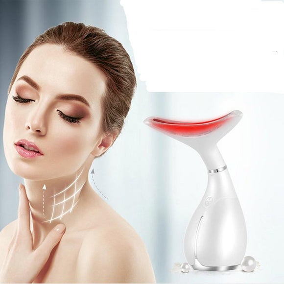 Anti-Wrinkle LED Light Therapy Neck Facial Massager Double Chin Reducer