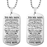 To My Son Daughter Dog Tags Pendant Necklace Stainless Steel Military Necklace