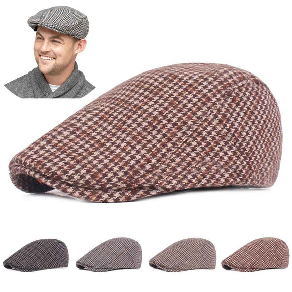 Adjustable Traditions Women Men Classic Tweed Flat Cap Hat