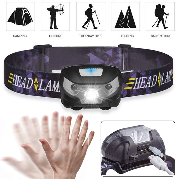 USB Rechargeable Headlights LED Headlamp Flashlight Torch