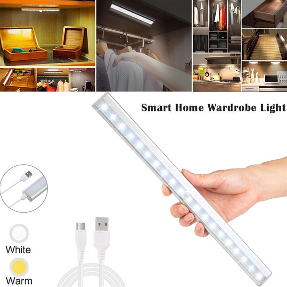 USB Rechargeable Wireless 20-LED Motion Sensor Under Cabinet Night Lights