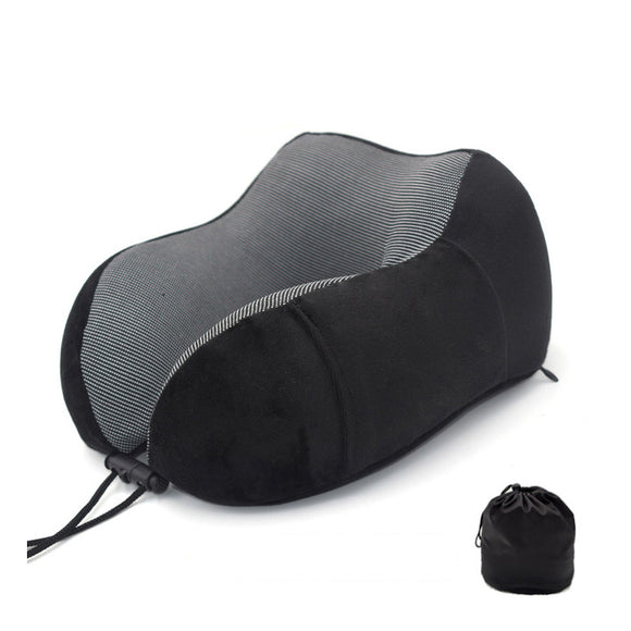 Memory Foam Head Support Travel Neck Pillow w. Storage Bag