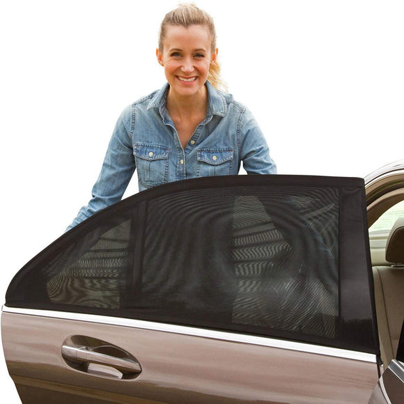 2pcs Mesh Fabric Anti-mosquito Car Rear Side Window Sun Shade Cover Visor Shield