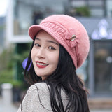 Vintage Rabbit Fur Knitted Beret Hat Plain Winter Newsboy Cap