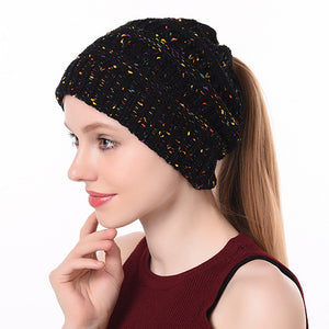 Winter Ponytail Knitted Beanie Hat Warm Confetti Caps