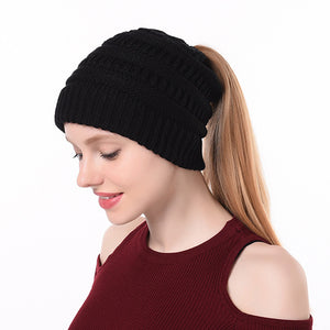 Winter Ponytail Plain Knitted Beanie Hat Warm Caps