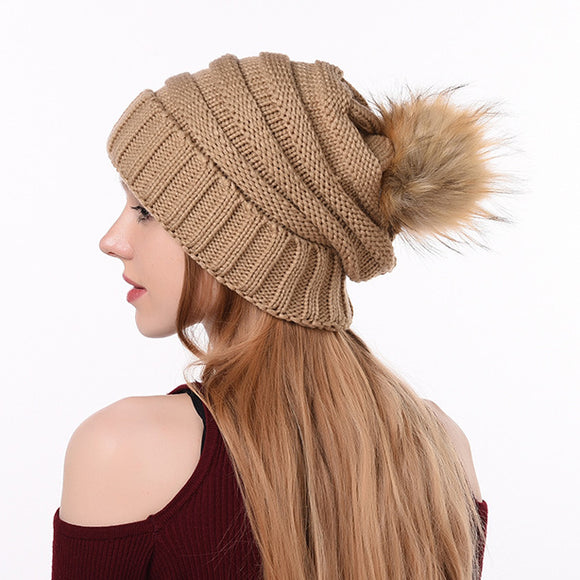 Winter Solid Color Knitted Beanie Hat Warm Caps