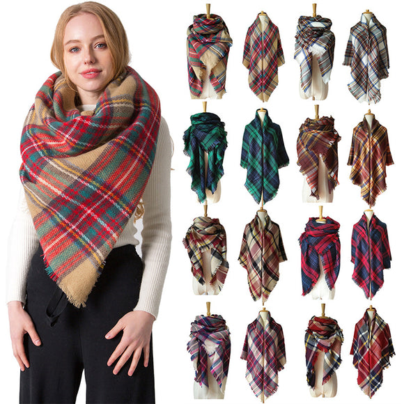 Women's Plaid Blanket Winter Oversized Tartan Scarf