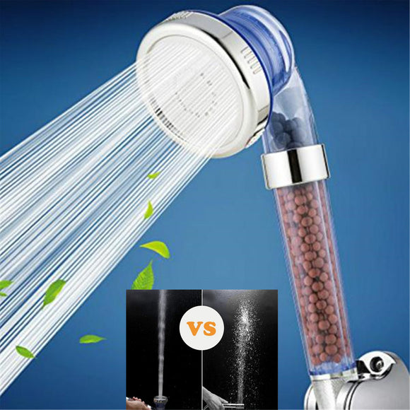 High Pressure 3-Mode Ionic Power Shower Head with Mineral Beads & Free Shower Horse