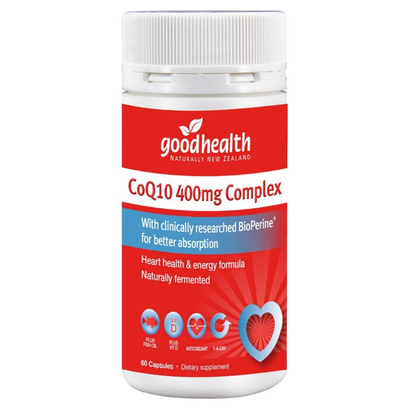 Good Health Co Q10 400mg Complex + Fish Oil +Vitamin D 60 Capsules