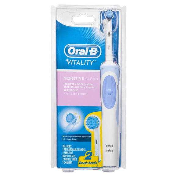 Oral-B Vitality Sensitive Clean Rechargeable Power Toothbrush with 2 Brush Heads