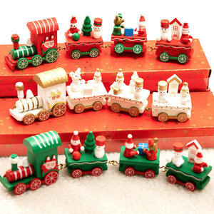 Christmas Wooden Train Home Decor Table Ornament Gift