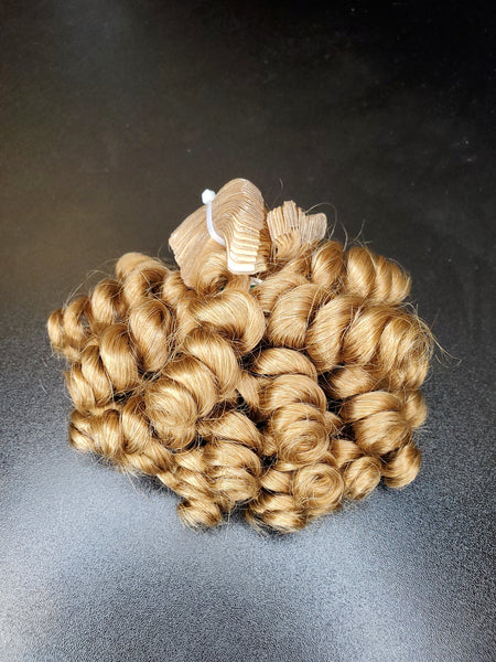 Caramel Brown Curly Human Hair Extensions