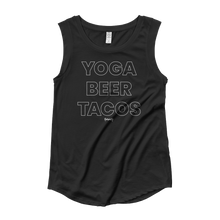 Load image into Gallery viewer, Yoga. Beer. Tacos. Cap Sleeve T-Shirt