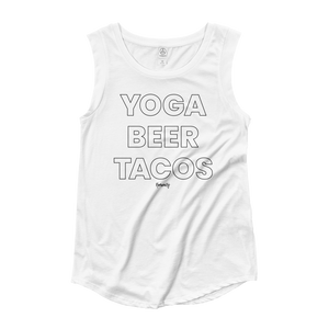 Yoga. Beer. Tacos. Cap Sleeve T-Shirt