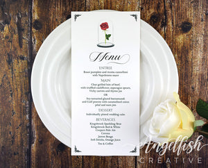 Beauty and the Beast Menu, red rose printed DL card