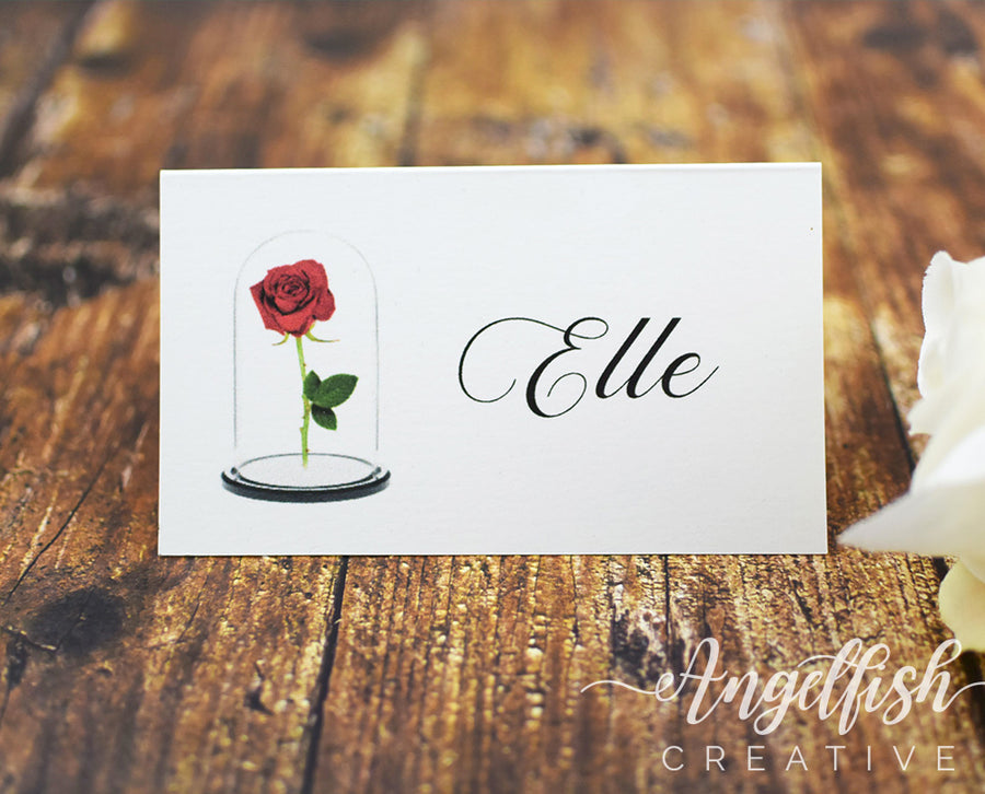 Beauty and the Beast Wedding Placecard, red rose printed personlised name card