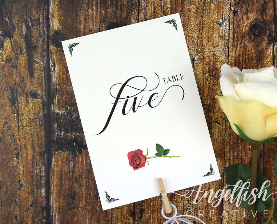 Beauty and the Beast Table Number, red rose printed card