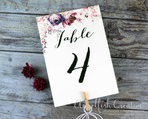 Blush Wedding Table Number, watercolour floral printed card