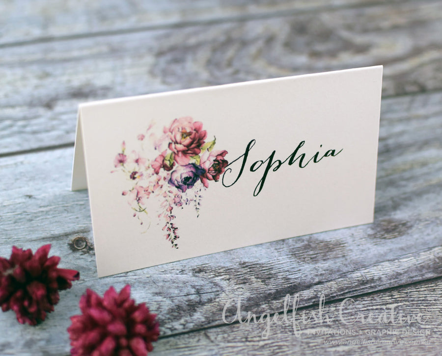 Blush Wedding Placecard,watercolour floral printed personlised name card