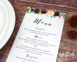 Burgundy Bloom Wedding Menu, printed maroon florals leaves DL card