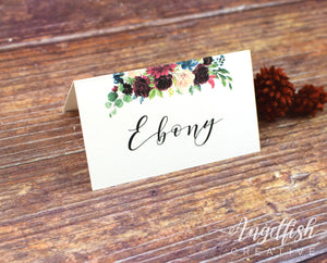 Burgundy Bloom Placecard