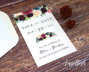 Burgundy Bloom Wedding Save the Date, maroon florals printed card