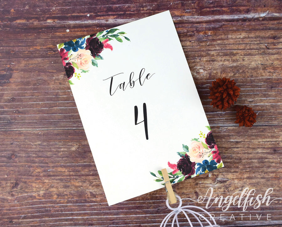 Burgundy Bloom Wedding Table Number, maroon florals printed card