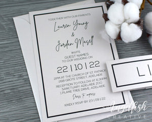Classic Border Wedding Invitation Bundle, modern silver invite set