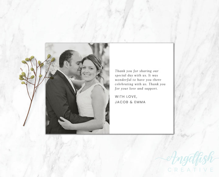 Classic Note Thank You Card, printed personalised photo card