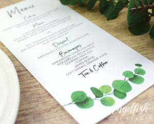 Eucalyptus Wedding Menu, printed greenery leaves DL card