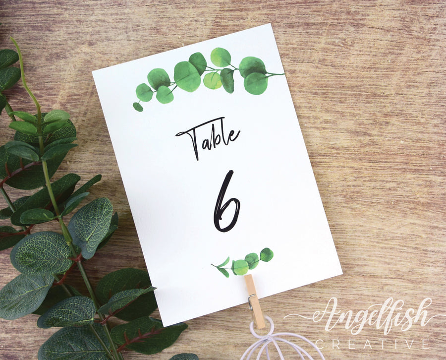 Eucalyptus Wedding Table Number, greenery leaves printed card