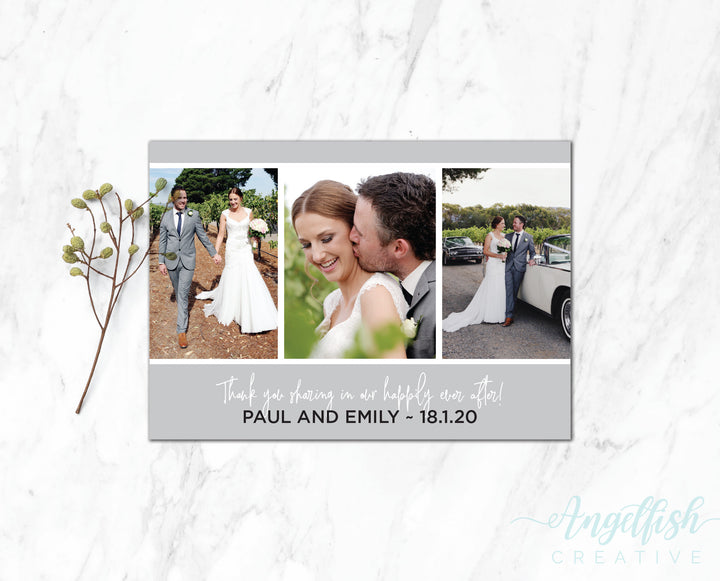 Ever After Thank You Card, printed personalised photo card