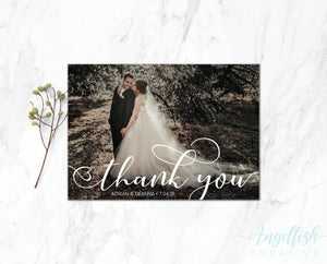 Flowing Script Thank You Card, printed personalised photo card