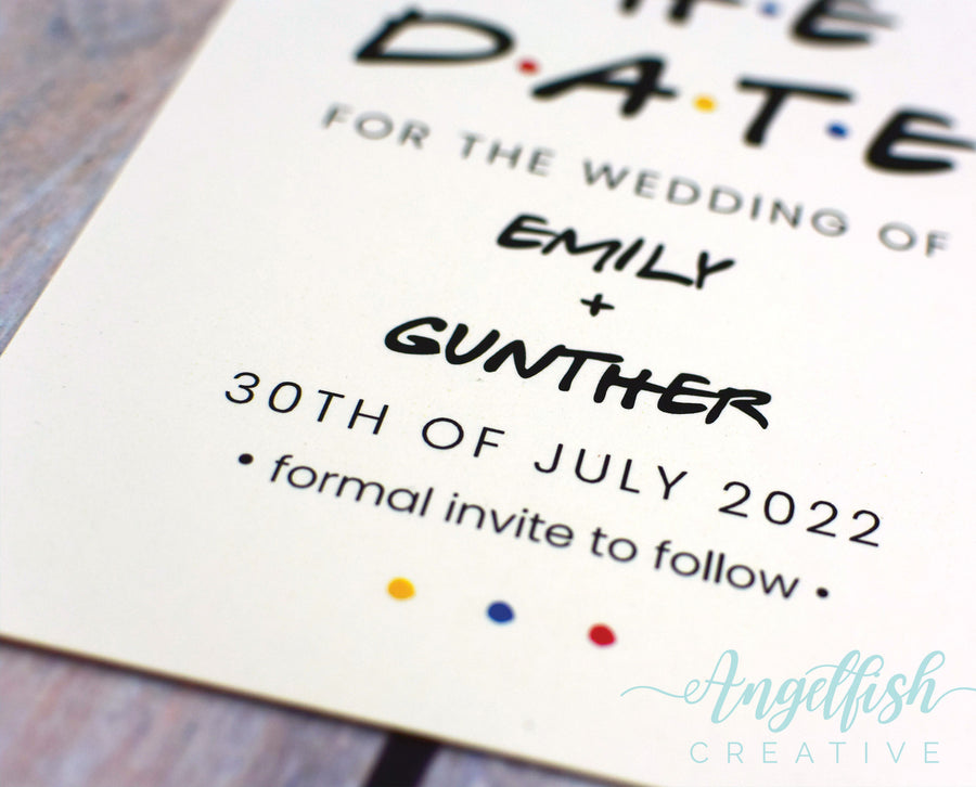 Friends Save the Date, TV show sitcom inspired printed card