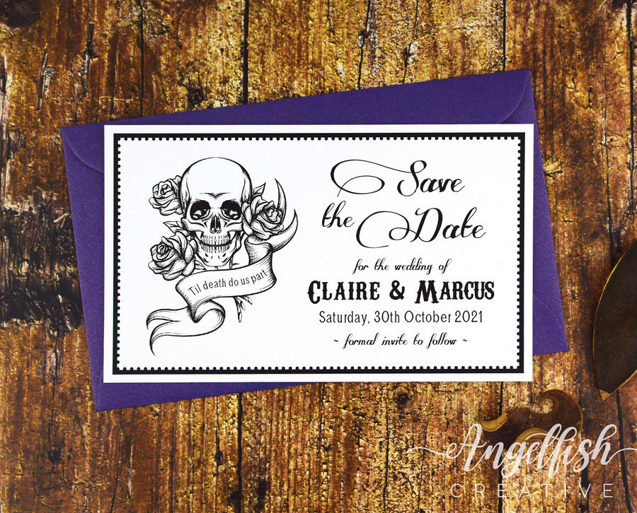 Gothic Save the Date, skull rose printed card